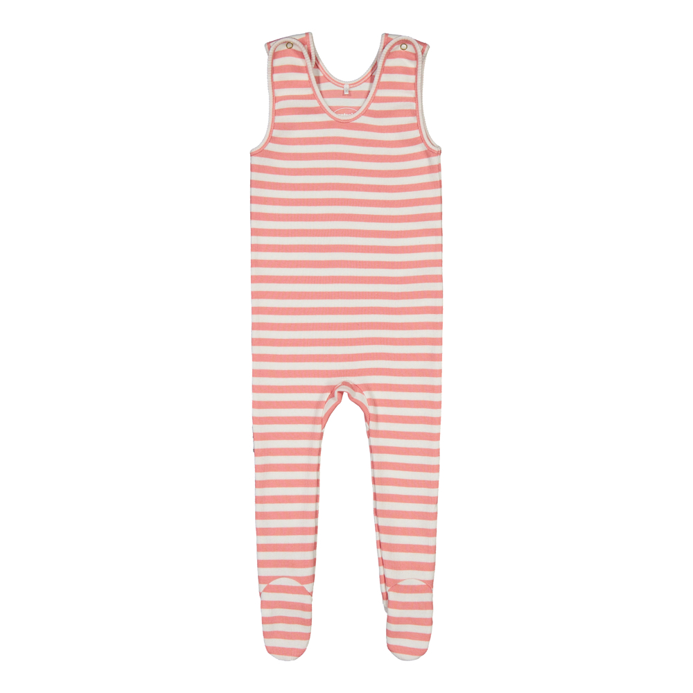 Rib Striped Strapsuit, strawberry ice/white